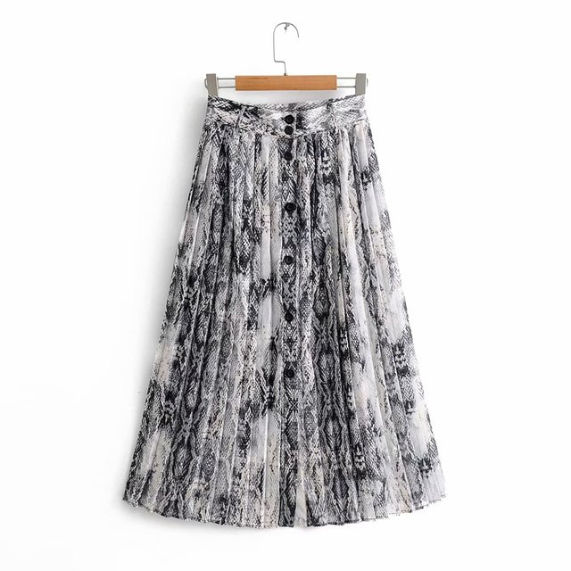 5af716b1 2018 New Women Vintage sexy snake skin print pleated midi skirt faldas  mujer ladies buttons casual slim chic brand skirts QUN161