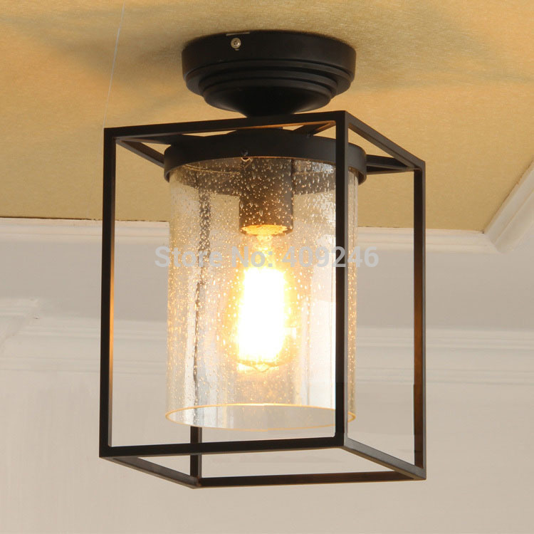 Loft Edison Industrial Vintage Retro Nordic Iron Clear Rain Soaked Glass Ceiling Lamp For Cafe Bar Coffee Shop Hall Balcony vintage industrial edison glass bottle wall lamp loft light bedroom aisle cafe cafe bar store hall club coffee shop decor