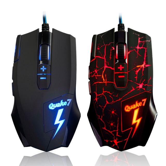 Ajazz Quake7(Q7) Professional ergonomic usb magic 3200 dpi 7d optical Gaming Mouse para jogos gamer led mice