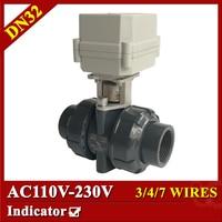 1 1 4 AC110 230V Plastic Electric Ball Valve 7 Wires CR704 Motorized Ball Valve DN32