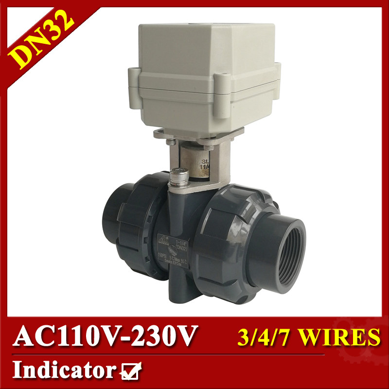 Tsai Fan electric ball valve 1 1/4 AC110-230V plastic 3/4/7 wires motorized ball valve DN32 BSP/NPT for IC card water meters tsai fan motorized ball valve 2 ac110 230v 2 5 wires electric valve dn50 upvc ball valve normal close open for hvac systems