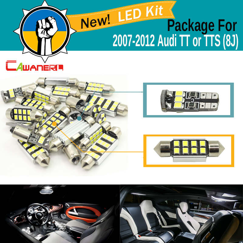 Cawanerl Car Canbus LED Package Kit 2835 SMD White Interior Dome Map Cargo License Plate Light For Audi TT TTS (8J) 2007-2012 13pcs canbus car led light bulbs interior package kit for 2006 2010 jeep commander map dome trunk license plate lamp white page 1