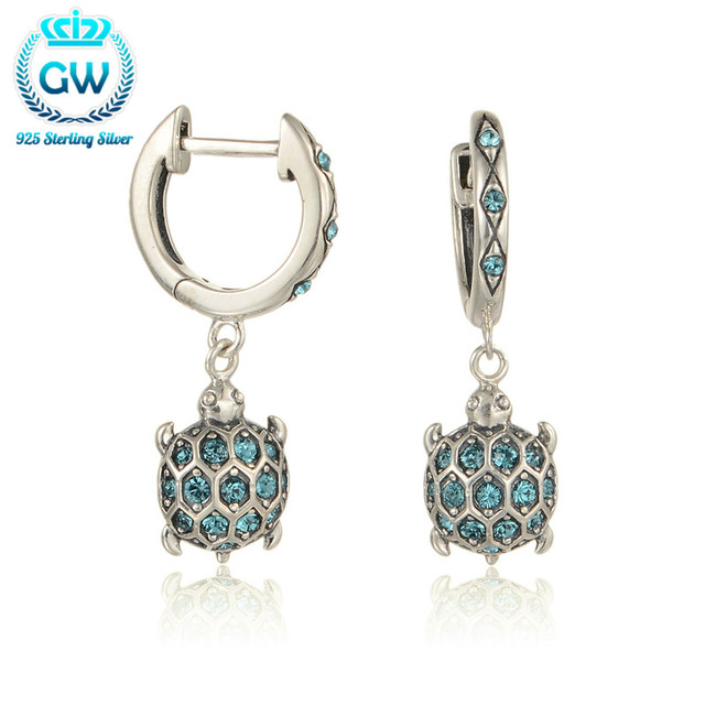 925 Sterling Silver Earrings Sea Turtle Dangle Earrings With Sparkling Rhinestone For Women Brand GW Jewellery Er1014