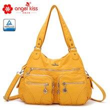Angelkiss вместительные модные женские сумки Хобо, дамская сумочка, сумка-портфель, сумки на плечо, тоут, моющаяся кожаная сумка