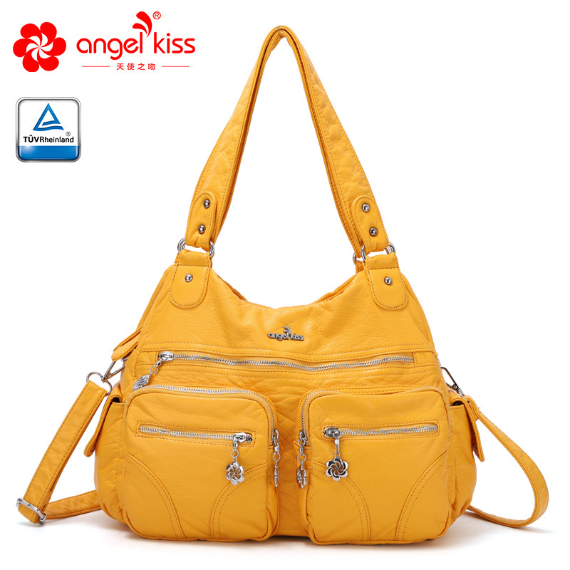 Angelkiss Roomy Fashion Hobo Womens Handbags Ladies Purse Satchel Shoulder Bags Tote Washed Leather Bag-in Shoulder Bags from Luggage & Bags    1