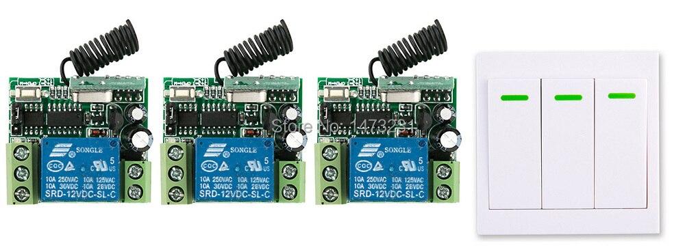 Nueva DC12V 1CH Inalámbrico Interruptor del Sistema de Control Remoto 3 * Recept