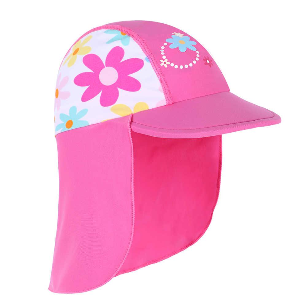 3d04319c Wholesale Newest summer Swimming Cap Children Sun Protection Swim Hats  Waterproof for girls Kids Outdoor sports