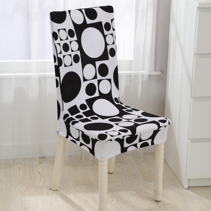 Universal Stretch Spandex Dining Room Wedding Banquet Chair Cover Siamese Elastic Four Seasons Black And W