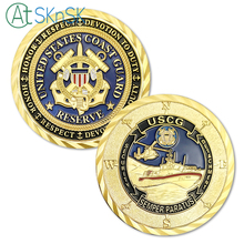 1PC USCG Gold Plated Coin Army Commemorative Medals United States Coast Guard Reserve Security Detachment Challenge Coin collect surreal detachment