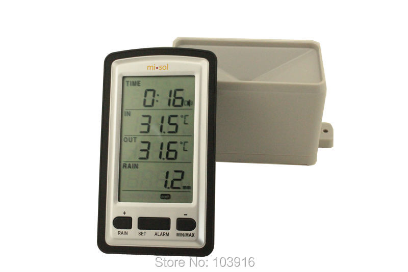Free shipping wireless rain meter rain gauge w/ thermometer, Weather Station for indoor/outdoor temperature recorder