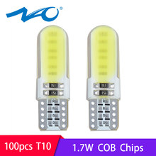 NAO 100x 5W5 T10 led car w5w 12V COB 1.7W interior light for auto motorcycle bulb 350LM white yellow red crystal blue wholesale(China)