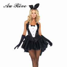 2016 Hot Sexy Black Bunny Girl Halloween Cosplay Costume For Women Erotic Club Rabbit Uniform Fancy Club Party Plus Size Dress