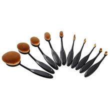 10pcs Toothbrush Shape Oval Makeup Brush Set Multipurpose profissional Contour Powder Eyebrow Blush Eyeshadow Make Up