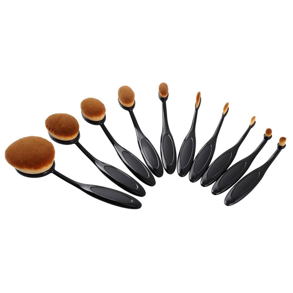 10pcs font b Toothbrush b font Shape Oval Makeup Brush Set Multipurpose profissional Contour Powder Eyebrow
