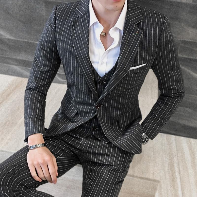 YUSHU Men Business Formal Suits Male Blazers Classic Stripe Design Groom Tuxedos Slim Fit Wedding Prom Suit For Men Costume