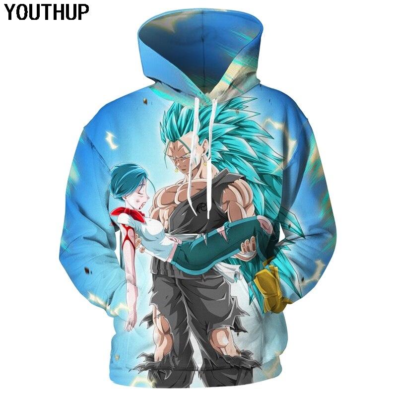 YOUTHUP 2018 Newest 3D Hoodies Dragon Ball Super Hoodies Men Saiyan Vegeta Sweatshirts Anime Cartoon Tees Fashion Cool Outwear