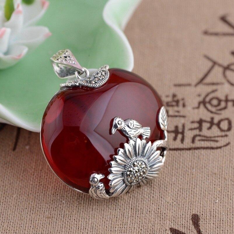 [Argent] argent cerf roi S925 gros pendentif en argent sterling style antique rouge zircon femelle nouveau