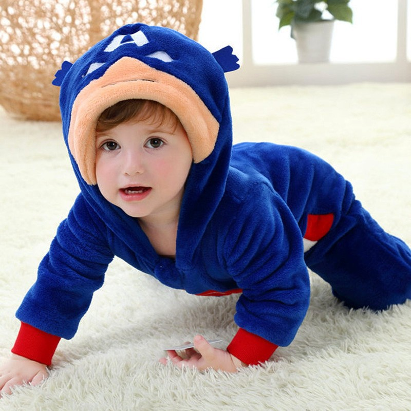 Spring and autumn baby boy clothes spiderman Captain America baby boy rompers Red Blue newborn clothes bodysuit one piece bebe (13)