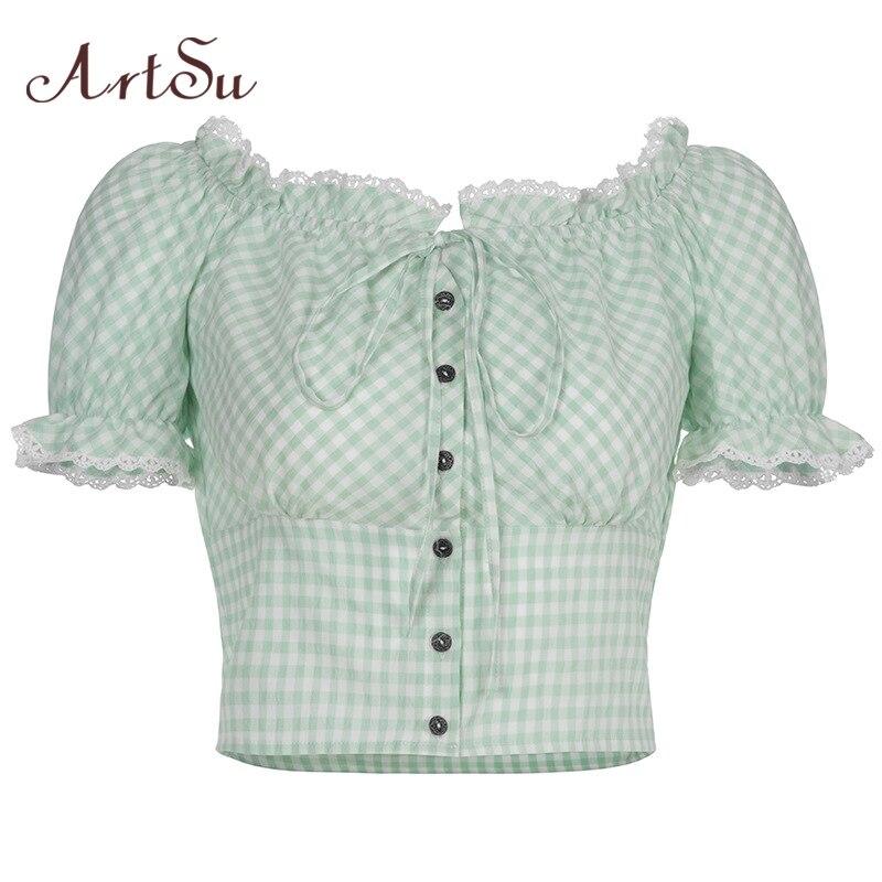 ArtSu Plaid Off Shoulder Tshirt Women Vintage Ruffles Short Sleeve Tee Shirt Femme Ladies T-shirt Summer Tops Green ASTS21039