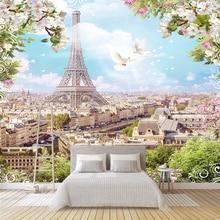 Niestandardowy dowolny rozmiar 3D ścienne mural tapety Nowoczesne moda EiffelTower Kwiaty Gołąb 3D Perspektywa Naklejka ścienna YBZ131