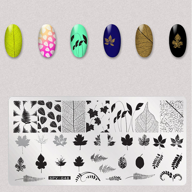 1Pcs Dry Flowers Nail Stamping Plates Leaves Image Rectangle Nail Art Stamp Plate Manicure Template Stencils Tools
