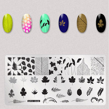 1Pcs Folhas de Flores Secas Prego Stamping Plates Imagem Retângulo Nail Art Carimbo de Placa Manicure Template Stencils Ferramentas