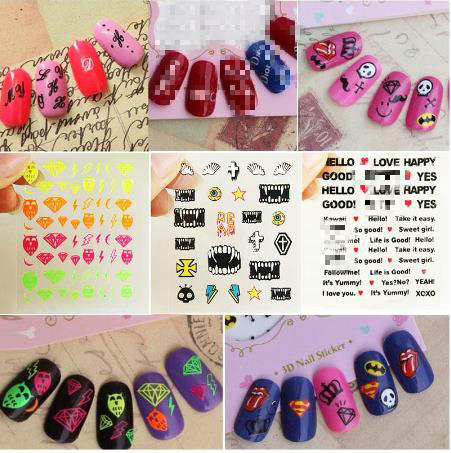 Harajuku cross nail lip plovers alphabet words pasted wholesale Nail Polish series sticker ship randomly