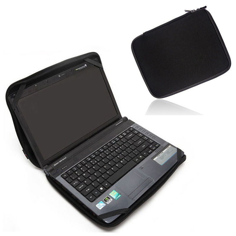 "Solid Black Laptop Notebook Sleeve Väska Vattentät Neopren Väska med 4 Strängar för 10 ""12"" 13 ""14"" 15 ""17"" HP Dell Acer Macbook PC"