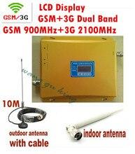 Полный Комплект GSM 900 МГц + 3 Г W-CDMA 2100 МГц Dual Band Мини Усилитель Сигнала, 2 Г 3 Г GSM Мобильный Телефон Сигнал Повторителя С Антенной