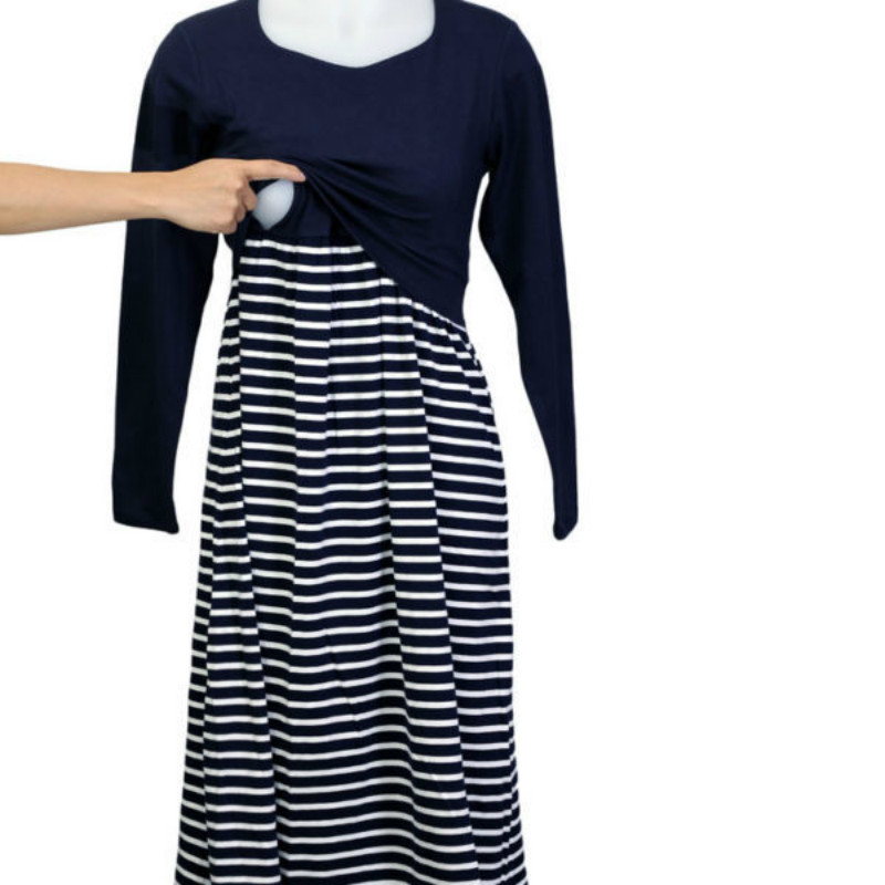 Plus Size pregnant Women Long Sleeves Stripe dress Autumn Maternity Nursing Dresses Maternity Breastfeeding Pregnancy Clothes недорго, оригинальная цена