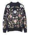 Europa Y Los Estados Unidos Las Mujeres Primavera 2017 Nueva gama Alta de Bordado Pesado Color Flor Suéter Corto Q1211-7LJ