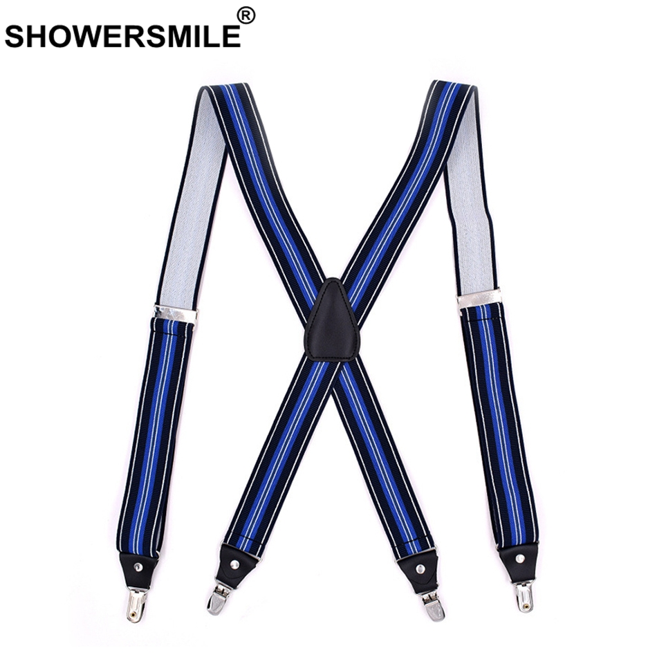 SHOWERSMILE Blue Suspenders Men Braces X Back Striped Suspenders Adults 4 Clips Elastic Adjustable Casual Male Pants Strap 120cm