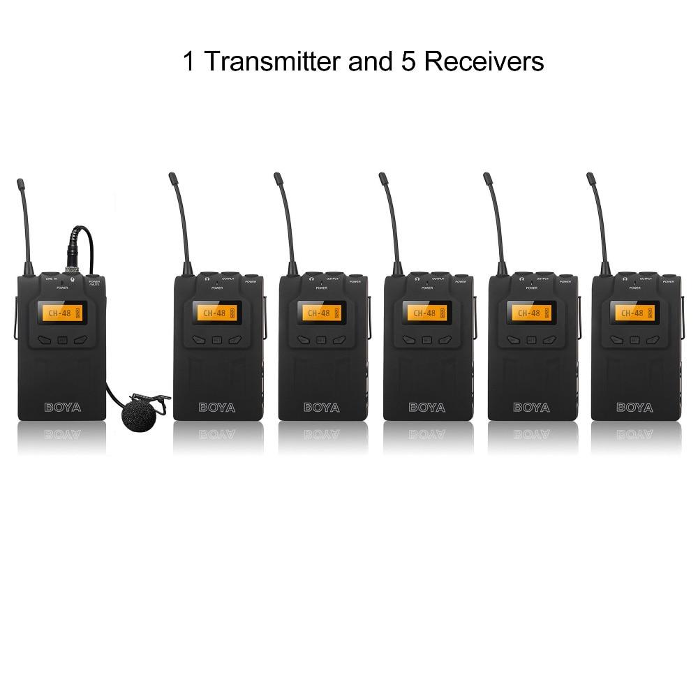 цена 1 Transmitter+5 Receivers BOYA UHF PLL Wireless Microphone tour guide system voice teaching