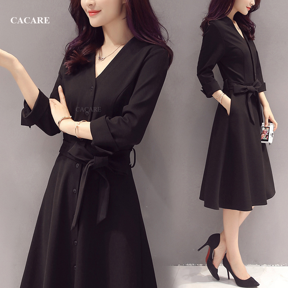 Classic Audrey Hepburn Dress Black Formal Dress Women Elegant Dress Women Summer 2018 Office Korean F2943 with Waist Belt formal wear