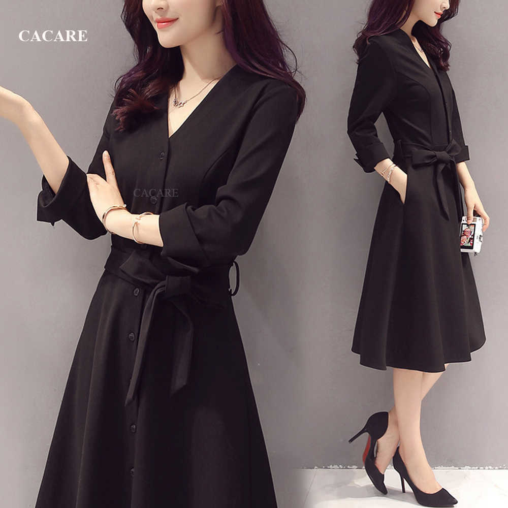 Classic Audrey Hepburn Dress Black Formal Dress Women Elegant Dress Women  Summer 5 Office Korean F5 with Waist Belt