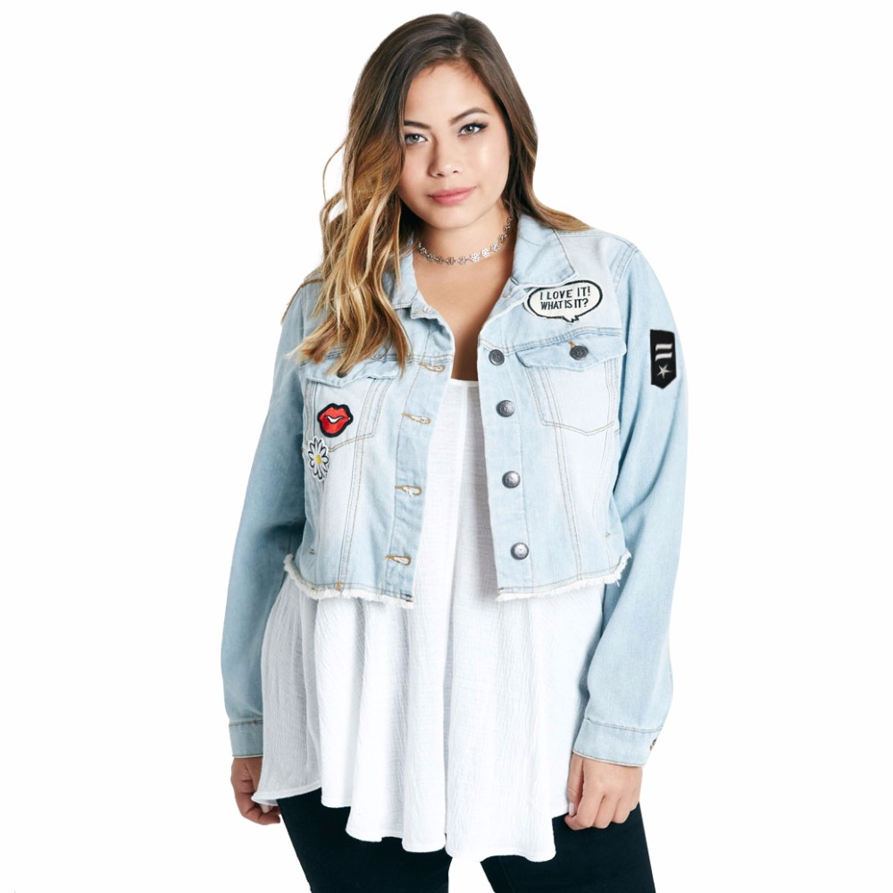 Plus Size Lips And Letter Embroidery Light Blue Denim