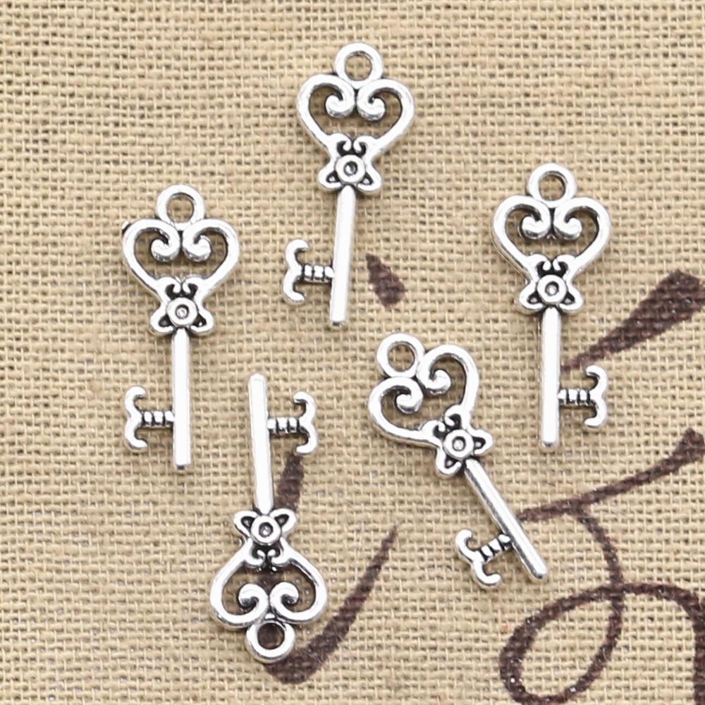 2 Skeleton Key Pendants Antique Silver Tone Steampunk Supplies Charms 53mm