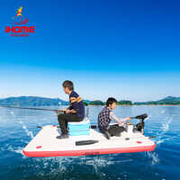 DWF Fishing Floating Water Platform Wear-resistant Inflatable Air Deck Drop-stitch Dock + Paddles + Hand-pump for 1-3 Person