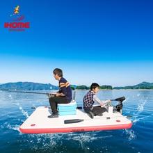 Dwf Vissen Drijvende Water Platform Slijtvaste Opblaasbare Air Deck Drop Stitch Dock + Peddels + Hand  pomp Voor 1 3 Persoon