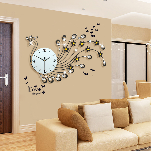 Aliexpresscom buy large peacock wall clock modern for Design wall clocks for living room