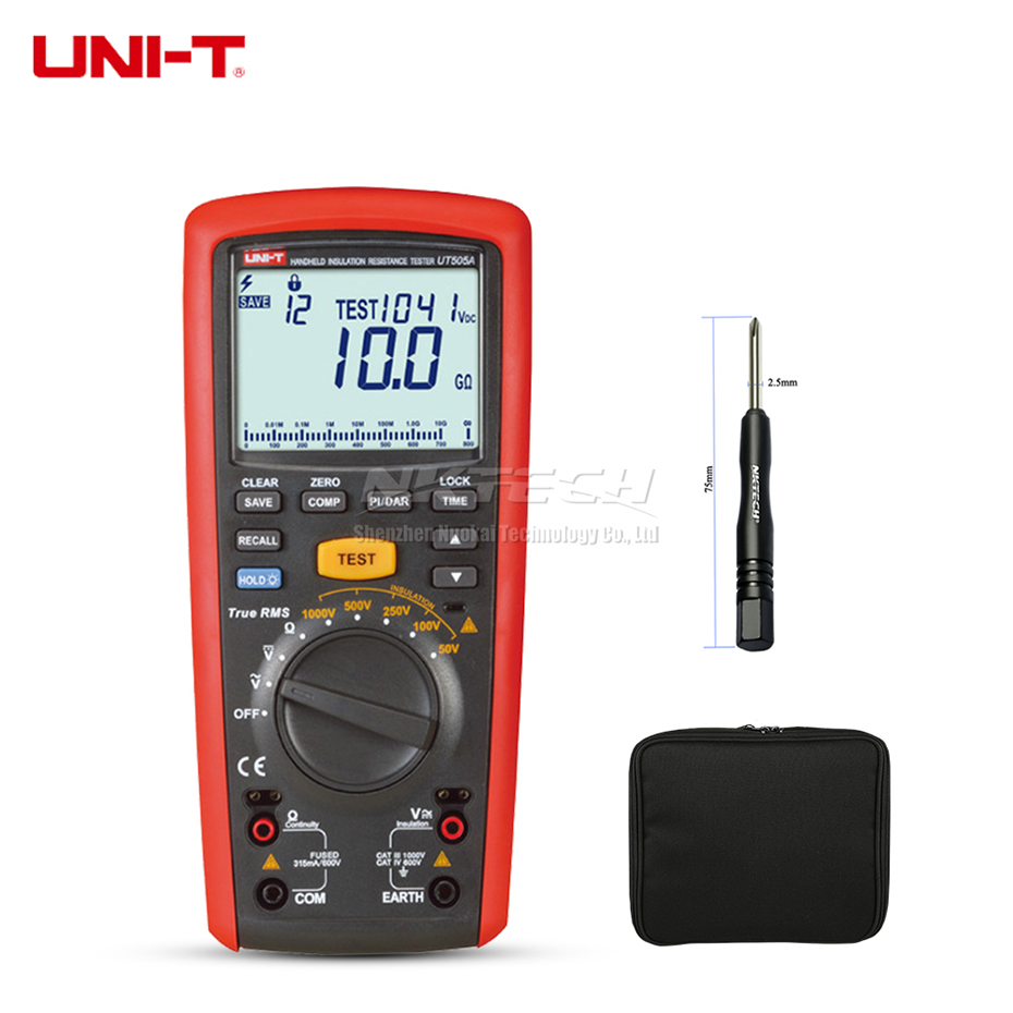 UNI T UT505A Megohmmeter Digital Handheld True RMS Megger Insulation Resistance Meter Tester Multimeter Ohm Voltmeter