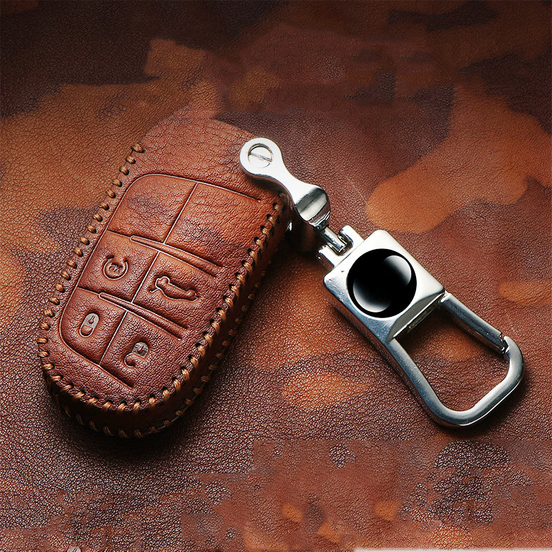 <font><b>2019</b></font> Wear-resistant Vintage Top Layer Leather Key Case For Dodge RAM <font><b>Jeep</b></font> Cherokee <font><b>Compass</b></font> Renegade Grand-commander Smart Key image