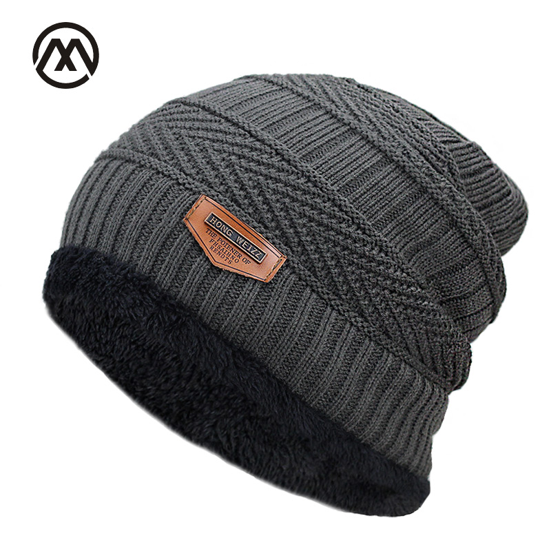 New Men's winter Fall hat fashion knitted black ski hats Thick  warm hat cap Bonnet Skullies Beanie Soft Knitted Beanies Cotton(China)