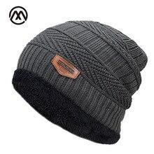 Новинка, мужская осенне-зимняя шапка, Модные Вязаные Черные Лыжные шапки, Толстая теплая шапка, облегающая шапка, бини, мягкие вязаные шапочки из хлопка