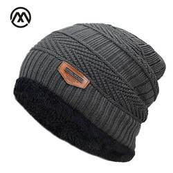 Новый для мужчин зимние Осенняя шляпа модные трикотажные черный лыжный шапки Толстая теплая шапка кепки Облегающая шапка Beanie мягкие