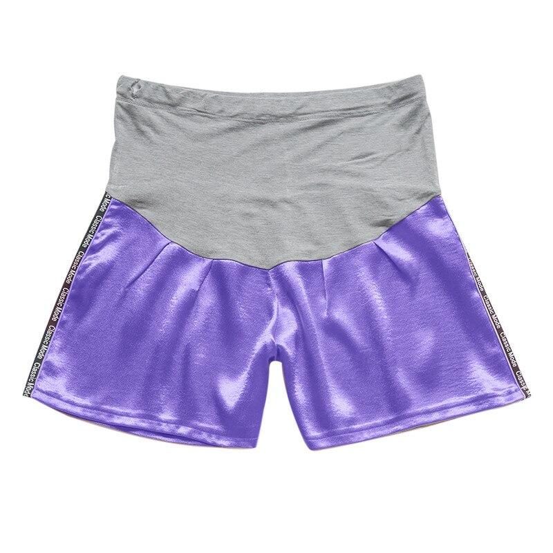Женские короткие штаны для беременных с беременным шорты, повседневные однотонные штаны с высокой талией для беременных# p40US - Цвет: Фиолетовый