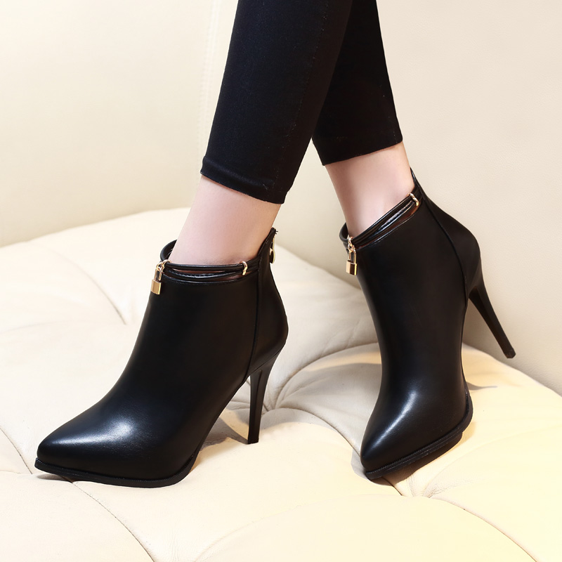Soft Genuine Leather Fashion Martin Boots With Lock Decoration Women High Heels Zipper Ankle Boots Autumn Winter Shoes CH A0005 in Ankle Boots from Shoes