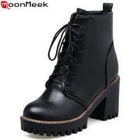 MoonMeek Fashion Autumn Winter New Arrive Women Boots Black Gray Brown Ankle Boots Lace Up Square