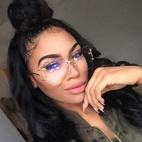 Coodaysuft Women Sunglasses Eyeglasses Oversized Rimless Eyewear Transparent Clear Lens Optical Myopia Lady Sun Glasses Unique