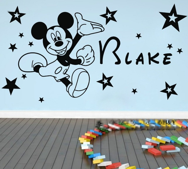 Free Shipping Customized Any Lovey Name Mickey Mouse Wall Sticker Vinyl  Mural Kids Decal 20 Stars